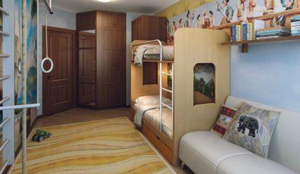 Детская комната для двоих детей: делим пространство на двоих.